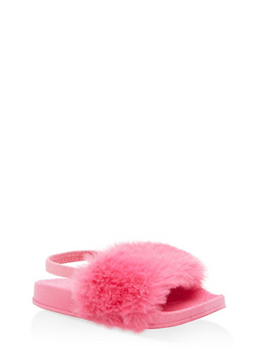 Girls 5-10 Faux Fur Slingback Slides | Tuggl
