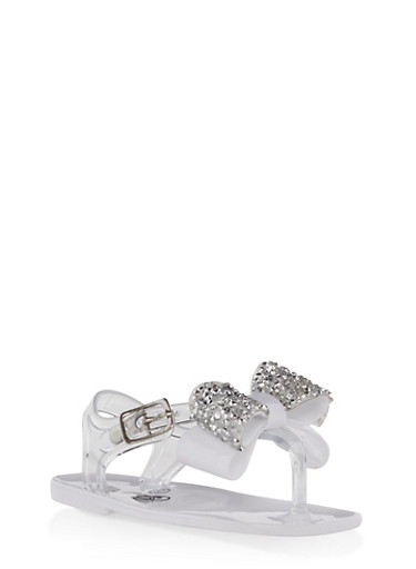Girls 6-10 Rhinestone Bow Jelly Sandals,CLEAR,large
