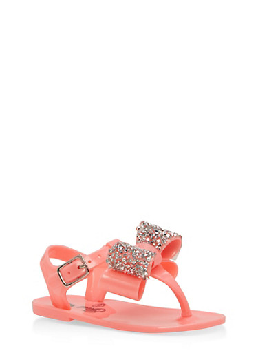 Girls 6-10 Rhinestone Bow Jelly Sandals | Tuggl