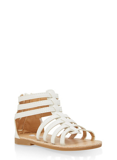 Girls 6-10 Faux Leather Gladiator Sandals | Tuggl