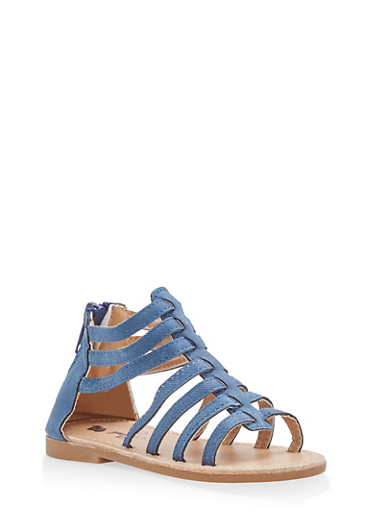 Girls 6-10 Denim Print Faux Leather Gladiator Sandals,DENIM,large