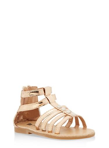 Girls 6-10 Studded Gladiator Sandals,GOLD S,large