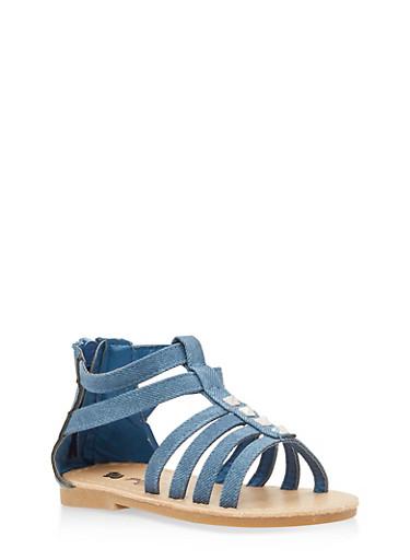 Girls 6-10 Studded Denim Gladiator Sandals,DENIM,large