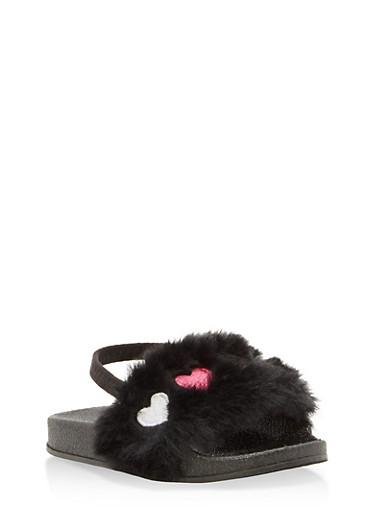 Girls 5-10 Faux Fur Heart Slingback Slides,BLACK,large