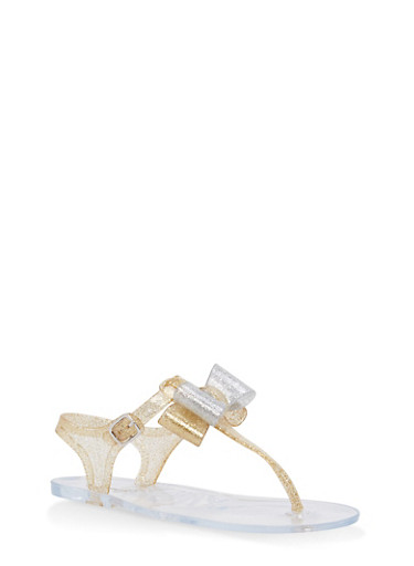 Girls 11-3 Glitter Bow Jelly Thong Sandals | Tuggl