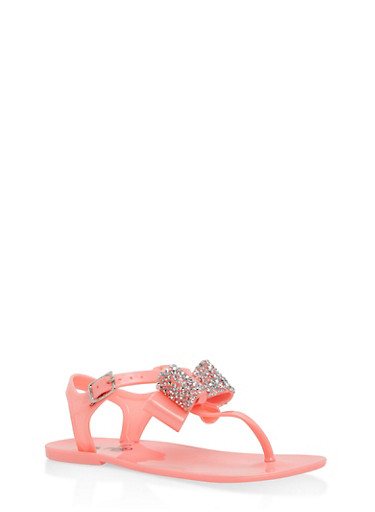 Girls 11-3 Jeweled Bow Sandals,CORAL,large