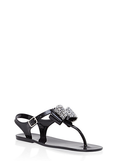 Girls 11-3 Rhinestone Bow Jelly Thong Sandals,BLACK,large