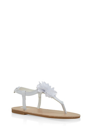 Girls 11-3 Flower Detail Thong Sandals,WHITE,large