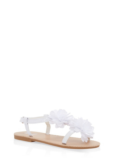 Girls 11-3 Double Flower Sandals | Tuggl