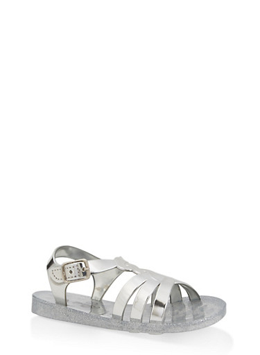 Girls 7-10 Glitter Jelly Braided T Strap Sandals,SILVER,large