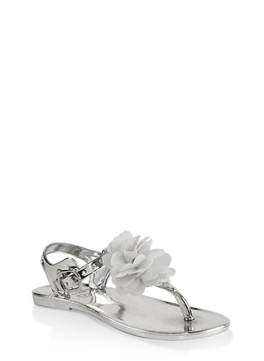 Girls 7-10 Flower Thong Sandals | Silver,SILVER,large
