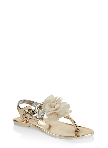 Girls 7-10 Flower Thong Sandals | Gold,GOLD,large