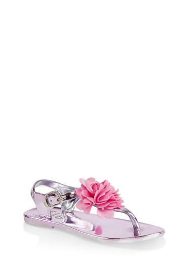 Girls 7-10 Flower Thong Sandals | Pink,PINK,large