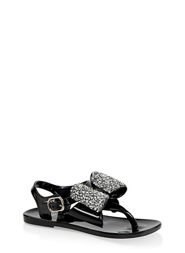 Girls 7-10 Rhinestone Bow Jelly Thong Sandals,BLACK,large