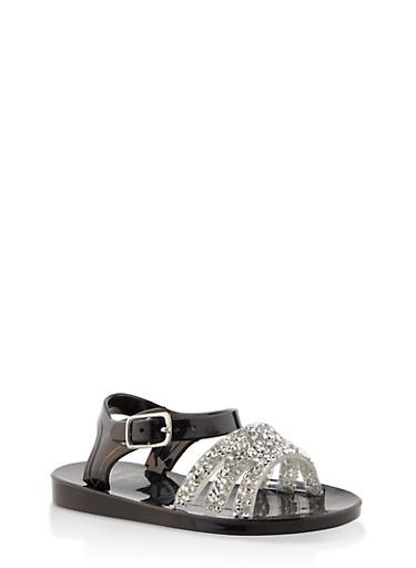 Girls 7-10 Druzy Strap Jelly Sandals | Black,BLACK,large