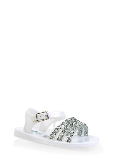 Girls 7-10 Druzy Strap Jelly Sandals | White,WHITE,large