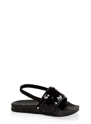 Girls 5-10 Reversible Sequin Slingback Slides - Black,BLACK,large