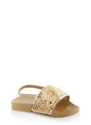 Girls 7-10 Reversible Sequin Slingback Slides | Gold,GOLD,large