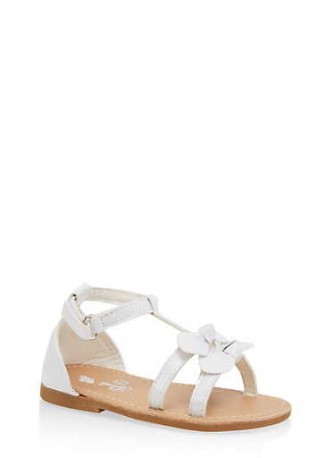 Girls 7-10 Faux Patent Leather Double Bow Sandals | White,WHITE,large