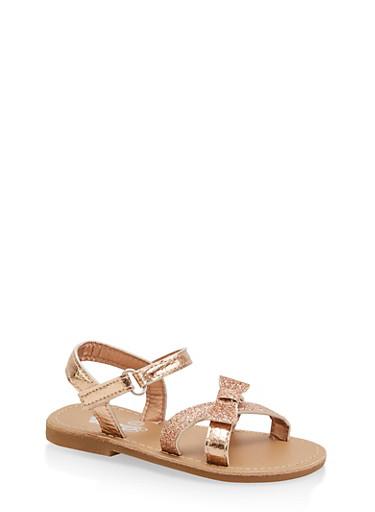Girls 7-10 Glitter Metallic Bow Sandals | Rose Gold,ROSE,large