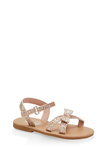 Girls 7-10 Glitter Bow Ankle Strap Sandals | Pink,ROSE,large