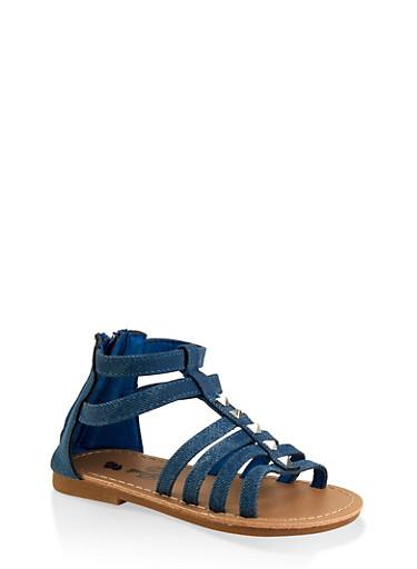 Girls 7-10 Denim Studded Gladiator Sandals,BLUE,large