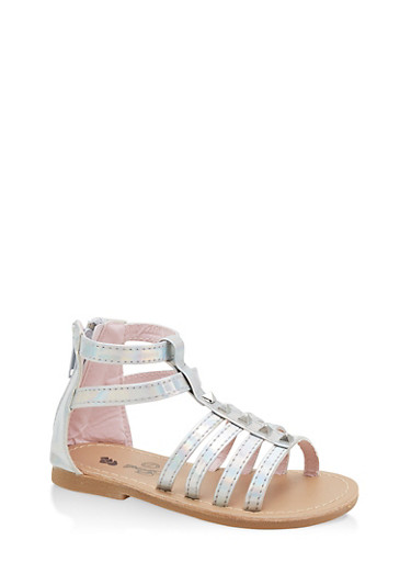 Girls 7-10 Iridescent Studded Gladiator Sandals | Silver,SILVER,large