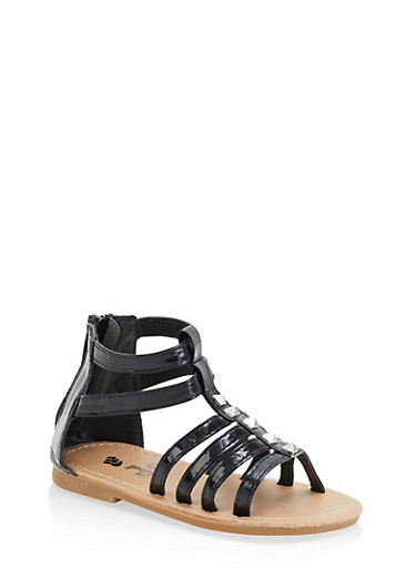 Girls 7-10 Faux Patent Leather Gladiator Sandals | Black,BLACK,large