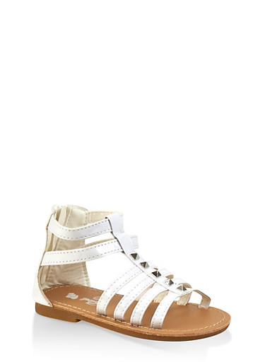 Girls 7-10 Studded Gladiator Sandals,WHITE,large