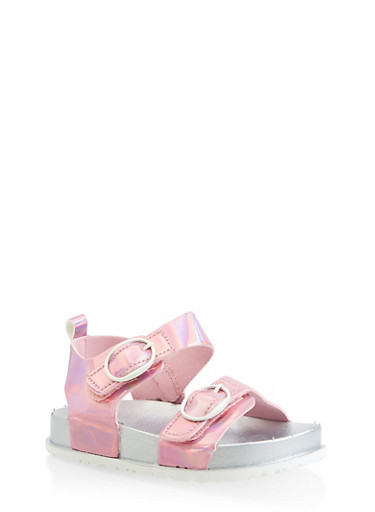 Girls 7-10 Iridescent Footbed Sandals   Pink,PINK,large