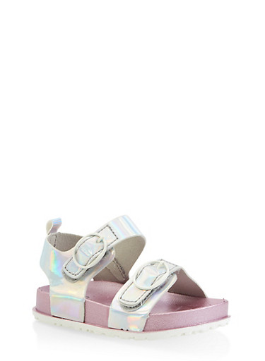 Girls 7-10 Iridescent Footbed Sandals | Silver,SILVER,large