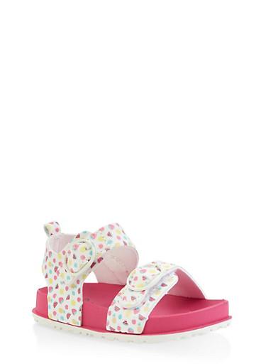 Girls 7-10 Fruit Print Footbed Sandals,WHITE,large