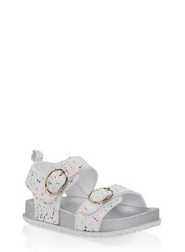 Girls 7-10 Paint Splatter Footbed Sandals | White,WHITE,large