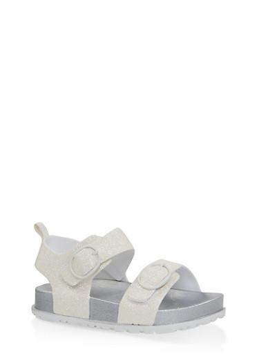 Girls 7-10 Glitter Footbed Sandals   White,WHITE,large