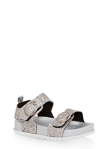 Girls 7-10 Glitter Footbed Sandals | Silver,SILVER,large