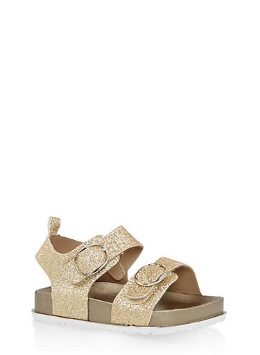 Girls 7-10 Glitter Footbed Sandals | Gold,GOLD,large