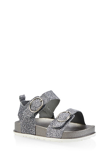 Girls 7-10 Glitter Footbed Sandals | 1737065690461,SILVER,large