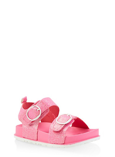 Girls 7-10 Glitter Footbed Sandals | Pink,NEON PINK,large