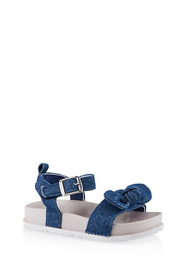 Girls 7-10 Chambray Bow Footbed Sandals,CHAMBRAY,large