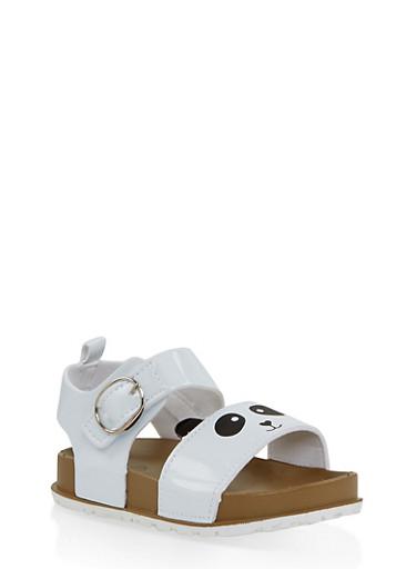 Girls 7-10 Panda Footbed Sandals | White,WHITE,large