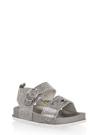Girls 7-10 Glitter Cat Footbed Sandals | Silver,SILVER,large