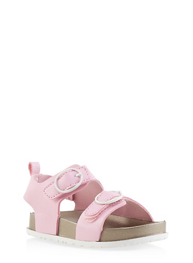 Girls 7-10 Faux Leather Footbed Sandals,PINK,large