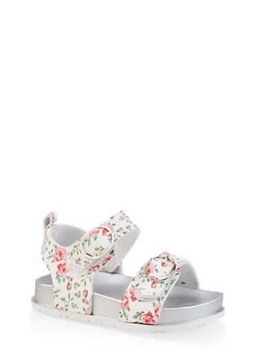 Girls 7-10 Floral Footbed Sandals,WHITE,large