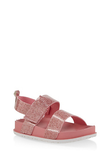 Girls 7-10 Two Band Glitter Footbed Sandals | Pink,PINK,large