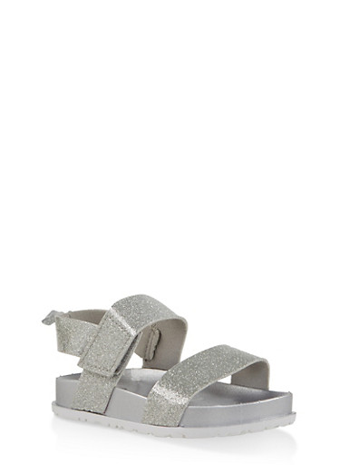 Girls 7-10 Two Band Glitter Footbed Sandals | Silver,SILVER,large