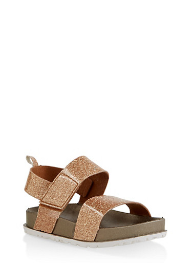 Girls 7-10 Two Band Glitter Footbed Sandals | Bronze,BRONZE,large