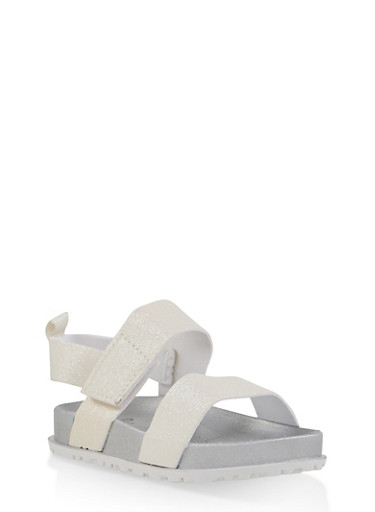 Girls 7-10 Two Band Glitter Footbed Sandals | White,WHITE,large
