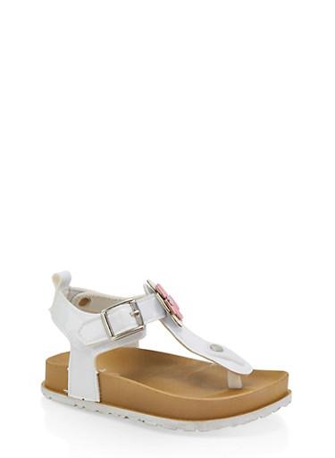 Girls 7-10 Flower Detail Footbed Sandals | White,WHITE,large