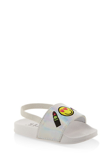 Girls 5-10 Emoji Iridescent Slingback Pool Slides,SILVER,large