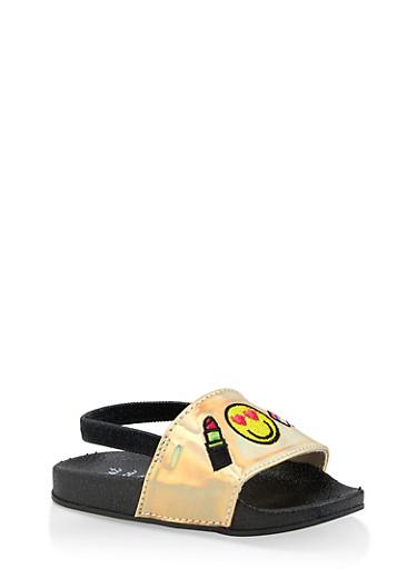 Girls 5-10 Emoji Patch Slingback Slides | Gold,GOLD,large
